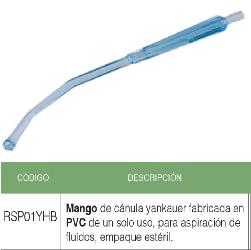Mango de Cánula yankauer fabricada en PVC de un solo uso, para aspiración de fluidos